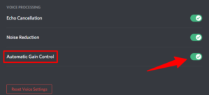 Disable automatic gain control in discord