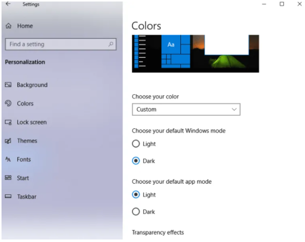 Select dark mode from choose your default Windows mode