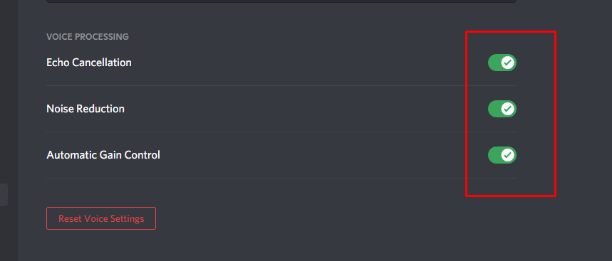 Voice and video setting to fix eco in discord