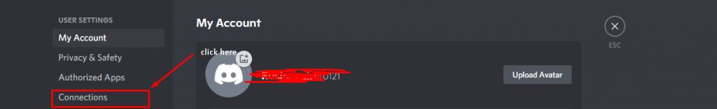 Connections in discord
